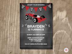 Chalkboard Race Car Birthday Invitation Custom by Ljartdesigns