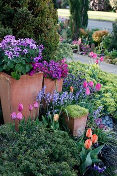 Nice use of Spring colors and blooms ****FOLLOW OUR UNIQUE GARDENING BOARDS AT www.pinterest.com/earthwormtec *****FOLLOW us on www.facebook.com/earthwormtec & www.google.com/+Earthwormtechnologies for great organic gardening tips #tulips #springgarden