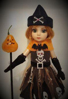 "Tonner 10"" Effanbee Patsy, Ann Estelle - Gothic Skull Halloween Cane Costume Dress"