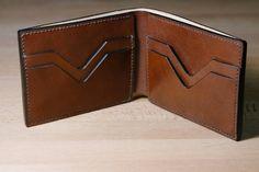 Italian leather personalized bi fold wallet, hand stitched , handmade custom wallet