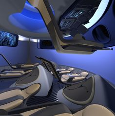 Boeing has unveiled a new commercial interior of its Crew Space Transportation next-generation manned space capsule, showing how people other than NASA astronauts may one day travel to space. Boeing and partner Bigelow Aerospace highlighted . Spaceship Interior, Futuristic Interior, Bigelow Aerospace, Spaceship Concept, News Space, Aircraft Design, Cabin Design, Space Travel, Space Tourism