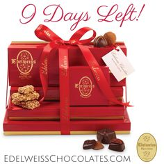 "With only 9 days to go, this impressive tower of our finest handmade chocolates makes the ultimate gift for any occasion! Hand packed and elegantly tied with a beautiful satin bow.   - Italian orange peel and Turkish apricots dipped in dark chocolate  - Chocolate Covered Pretzel Gift Box - ""Unusual"" Marshmallow Assortment  - Truffle Collection - Nuts & Chews Assortment  - Sampler Box of our most popular confections."