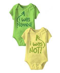 Look what I found on #zulily! Key Lime & Banana 'Planned' Bodysuit Set - Infant #zulilyfinds