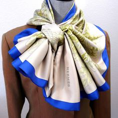 Authentic Reversible Hermes Silk Shawl Rare and Stunning Paris Spring Outfit, Spring Outfits, Ways To Wear A Scarf, How To Wear Scarves, Turbans, Scarf Knots, Silk Shawl, Hermes Handbags, Balenciaga Handbags