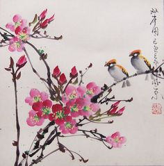 Original painting oriental art chinese artflower with two by art68, $38.00