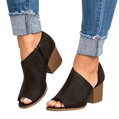 a63abad852a5 Women Low Heel Ankle Booties Slip On Vegan Suede Leather Cut Out Chunky  Block Stacked Peep Toe Ankle Boots Shoes