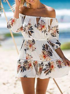 Trendy Off Shoulder Tied Ruched Floral Dress
