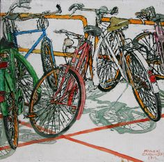 Bikes in water color.
