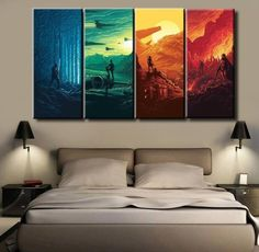Star Wars The Force Awakens Movie, 4 Panel Framed Canvas Wall Art
