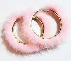 Pink Fur Hoop Earrings at Kinky Cloth