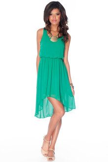 Perfect dress for a summer wedding! -No Going Back Hi-Low Dress in Kelly Green