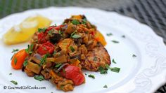 Gourmet Girl Cooks: Grilled Chicken Topped w/ Skillet Style Imam Bayildi - Low Carb Turkish Cuisine