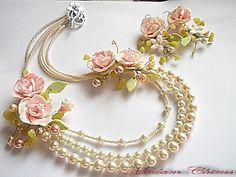 Wedding jewelry set with pearls of polymer clay,natural pearls,necklace with pearls Wedding jewelry set with pearls of polymer claynatural by Malfarka Wedding Jewelry Sets, Bridal Jewelry, Flower Jewellery For Haldi, Flower Jewelry, Handmade Necklaces, Handmade Jewelry, Antique Jewellery Designs, Polymer Clay Bracelet, Bridal Earrings