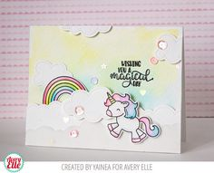 Yainea for Avery Elle Supplies: Be a Unicorn Clear Stamps Be a Unicorn Dies Pierced Clouds Dies