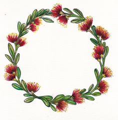 Pohutukawa Christmas Wreath #pohutukawawreath #nzchristmaswreath #watercolourxmas #watercolourchristmas #watercolourwreath #watercolournzart