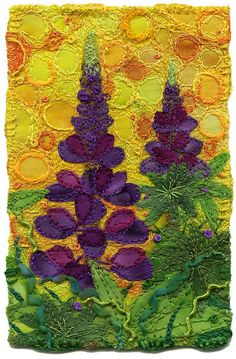 """Lupines, small  Lupines amaze me and I've always wanted to stitch them. I played with the yellow background/sky in order to liven up the complementary colours.  Purple and yellow make magic together. I would love to work more with these colours.  If I had made the sky blue, the flowers would have started to disappear into the sky.  SOLD  3"""" x 4 ½""""  9"""" x 11"""" framed  www.chursinoff.com/kirsten/"""