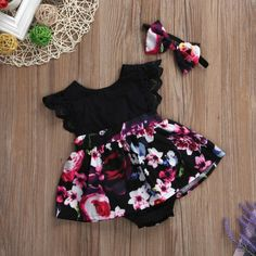 Black Floral Tutu Dress with Matching Headband for Baby & Toddler Girls – Bitsy Bug Boutique Baby Girl Romper, Baby Girl Dresses, Baby Girl Newborn, Dress Girl, Baby Girl Fashion, Toddler Fashion, Kids Fashion, Cute Girl Outfits, Kids Outfits