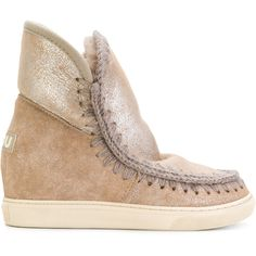 Mou inner wedge Eskimo boots (€340) ❤ liked on Polyvore featuring shoes, boots, metallic, mou boots, wedge boots, metallic boots, metallic shoes and wedge heel shoes
