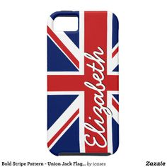 Bold Stripe Pattern - Union Jack Flag with Name iPhone 5 Cover
