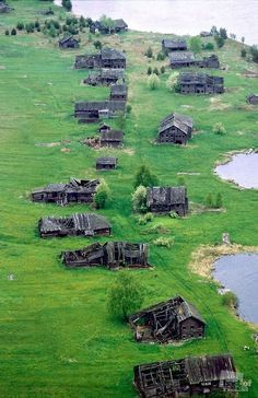 The village of Pegrema, Republic of Karelia, Russia. This beautiful example of the wooden architecture was abandoned after the Russian Revolution.