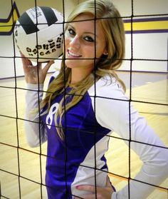 Volleyball pose with the net-senior photograph
