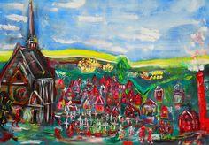 """ 1913 "" Dorf Burgsolms Hessen  ÖL Leinwand 70 x 100 cm Spachtel  #actionmaler"