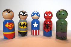 Small Superhero Peg Dolls or Christmas Ornaments by elizabitsies