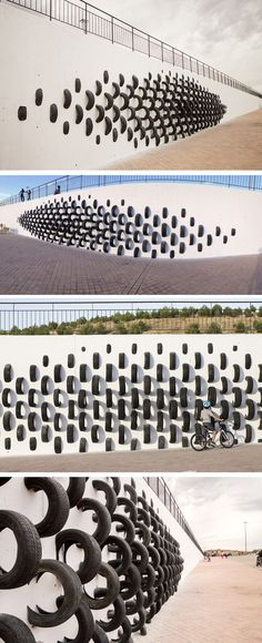 Arte callejero - Street art: Spanish Artists Use Old Tires To Create Wall Art Landscape Architecture, Landscape Design, Installation Architecture, Artistic Installation, Wall Installation, Art Public, Instalation Art, Old Tires, Spanish Artists