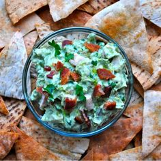 Green with Envy Chicken and Ranch Guacamole with Warm Ranch Pita Crisps