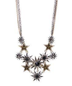 $14.99 Love this Silvertone & Black Crystal All-Star Bib Necklace on #zulily! #zulilyfinds