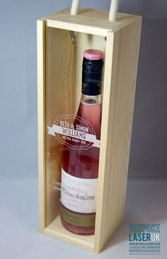 Handmade Personalised Wine Bottle Box - Personalised Wedding Present - Thank you present, wooden wedding anniversary, wine box, gift box. (Gifts)