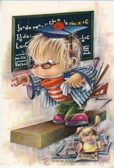 POSTAL - MATEMATICO CYZ SERIE 6620 - - CIRCULADA EN 1972 ILUSTRA GABRIEL Vintage Cards, Vintage Postcards, Graduation Images, Cool Clipart, Art Mignon, Ecole Art, Mother's Day Diy, Children's Book Illustration, Embroidery Art