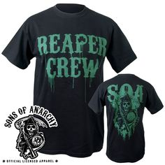 Black bike tee,with green reaper crew and clover on front and SOA reaper Ireland on the back.