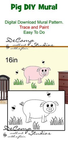 DIY Barnyard Pig Wall Art Mural Pattern Download for baby boy nursery or kids room decor. Do It Yourself Trace and Paint by Number. Also great for church nursery, childcare, pediatric office, and preschool #decampstudios