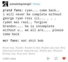 Yea I don't get that. Even if you hated him, he was a huge part of MCR's sound and extremely talented<< Who harassed Mikey and stole from the band. I think you forgot to leave that out (: Emo Band Memes, Mcr Memes, Emo Bands, Music Bands, Only Play, Music Mood, Panic! At The Disco, Pop Punk, My Chemical Romance