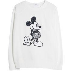 Mango Sequin Cartoon Sweatshirt, White ($25) ❤ liked on Polyvore featuring tops, hoodies, sweatshirts, sweaters, shirts, disney, jumpers, long sleeve sweatshirt, comic book and white cotton shirt