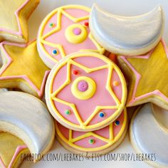 Small Sailor Moon Brooch Sugar Cookies Set with Stars and Moons - 1 Dozen by…