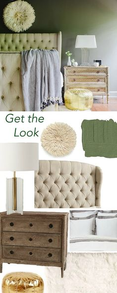 Get the Look: Neutral and Olive Master Bedroom via Waiting on Martha
