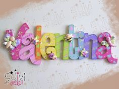 Painting Wooden Letters, Painted Letters, Wood Letters, Monogram Letters, Decorated Letters, Hanging Letters, Wooden Crafts, Diy And Crafts, Crafts For Kids