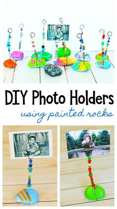 Painted Rock Photo Holder Craft for Kids: Paint rocks or stones and turn them into special keepsakes or homemade gifts. Painted Rock Photo Holder Craft for Kids Mothers Day Crafts For Kids, Fathers Day Crafts, Fun Crafts For Kids, Creative Crafts, Projects For Kids, Diy For Kids, Craft Projects, Craft Ideas, Kid Craft Gifts