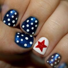 patriotic nails. I think I'd do red and white stripes (red base coat, white stripes) for the accent nail along with my dots.