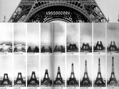 SUNNY_With this image, we are able to see how the Eiffel Tower constructed from foundation work to complete to build at once which took eighteen months. Each frames well show how grown the tower, also, we can see the first level of the tower took longest time by looking at first five frames. Moreover, the five slides show the tower architect built its four legs first then built pillar around the end of the year, 1887.