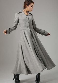 gray coat  wool maxi jacket winter coat dress long by xiaolizi, $199.00