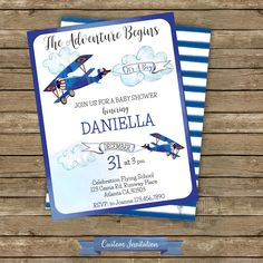Airplane Boy Baby Shower Invitation, Vintage Airplane Baby Shower, It'a Boy, Custom Digital Invitation, Blue airplane by iCandyPartyPrintable on Etsy