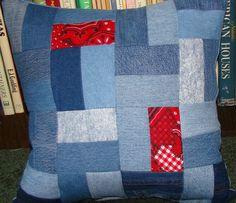 Handmade Patchwork Denim Pillow. $12.00, via Etsy.