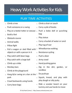 50 Heavy Work Activities for Kids {Free Printable} Heavy work play time ideas for kids - great suggestions for kids with autism and/or sensory processing disorder from And Next Comes L Proprioceptive Activities, Gross Motor Activities, Work Activities, Gross Motor Skills, Sensory Activities, Therapy Activities, Sensory Play, Autism Activities, Physical Activities