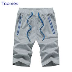 Casual Shorts Men Men's Knee Length Shorts Fashion Drawstring Elastic Waist Zippers Solid Short Pants Men Sportswear Male