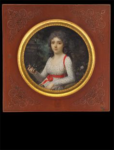 Frédéric Dubois, Lady in Spotted Dress with Red Ribbons