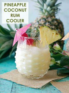 Pineapple Coconut Rum Cooler - Peanut Butter and Fitness Pineapple Coconut Rum Cooler - Erdnussbutter und Fitness Rum Cocktails, Cocktail Drinks, Alcoholic Drinks, Painkiller Cocktail, Amaretto Drinks, Popular Cocktails, Vodka Martini, Sweet Cocktails, Summer Cocktails