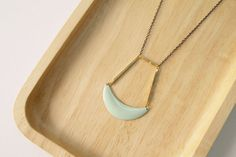 Geometric Necklace  Mint Crescent Necklace by curiouscreaturesshop, $25.00